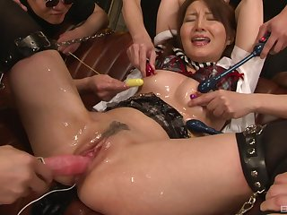 Slimy and messy abusive gangbang wide loads of cum of a Japanese babe