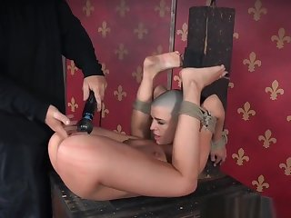 Bald Trull Spanked In Frogtie Position