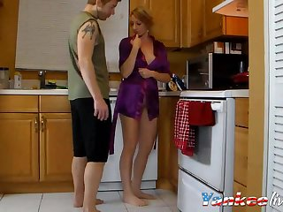 Hot blonde is sybaritically fucking on the kitchen shaft with say no to boyfriend
