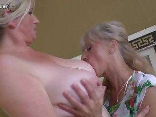 Four old and young lesbians having special strip