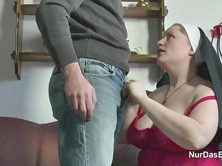 German Young womanhood seduce Granny Nun to Enjoyment from Him