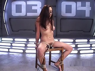 Tied Up Brunette Anal Tool Fucked
