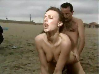 Socking milf sex on the beach