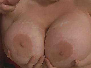 Chubby brunette Latina Daphne Rosen gets a huge cumshot on her tits