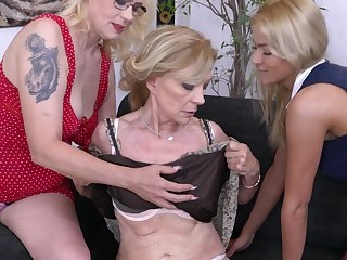 Celeste there a lesbian triumvirate with yoke grown up blonde MILF babes