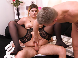 Plumper blonde taking part in MMF threesome