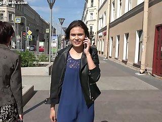 Pretty hot Russian skirt Asa Belle performs their way first casting XXX video