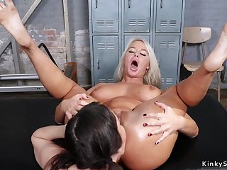 Lesbian fitness coach rimming blond hair babe Ma