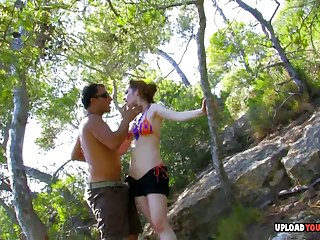 Smoking redhead in the woods gets a pounding