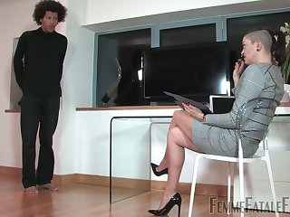 Aberrant mistress puts on strapon increased by fucks anal chink for filial dude