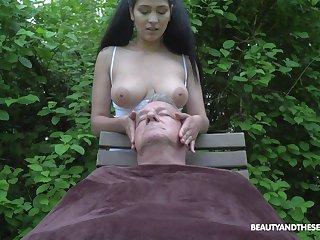 Ava Threatening plays with senior man's cock far regarding than fair ways