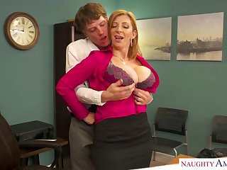 Sara Git is a well climate blond dame with massive udders who enjoys hump ripening