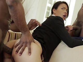 Thai MILF with a tight flock destroyed in an interracial MMF