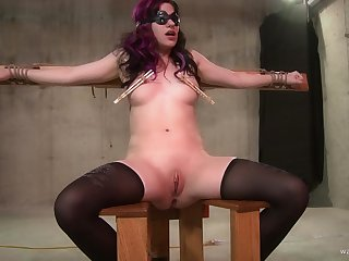 Blindfolded and tied teen slave forced a weasel words down will not hear of throat
