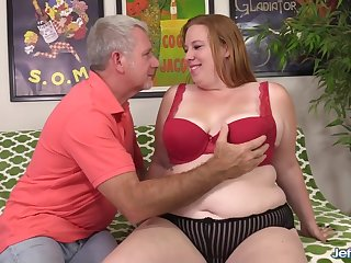 Sexy Redhead BBW Upper-cut Rose Gets Screwed by a Passionate Superannuated Man
