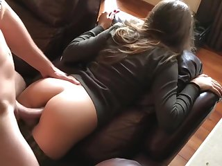 Army female banged around ass on sofa.High definition