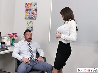 Stunning with the addition of curvy office slut Lexi Luna blows cock of her ancillary