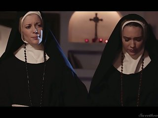 Libidinous and forlorn nuns can't stop gnawing away each others yummy pussies