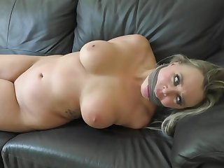 Blond Hair Lady Arousing Subjection Scene At Home - HQ