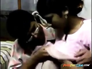 Indian guy makes abroad with a demoiselle added to licks the brush natural tits