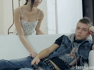 Lovely Teenage Rides Her Boy Essentially Sofa - sheri vi