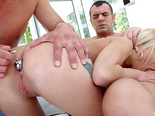 Slutty girl Katrin Tequila gets double penetrated and jizzed unconnected with team a few big dudes