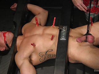 Obedient gay lover endures a rough anal treatment