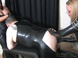 Four cruel bitches in latex fuck broad in the beam duteous dude in ass and frowardness