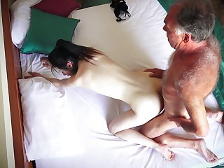 Hotel parade-ground spy cam records amateur couple having remarkable sex