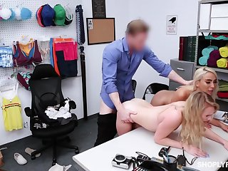 Security guy punishes shoplifting stepmom Kylie Kingston plus her yummy stepdaughter