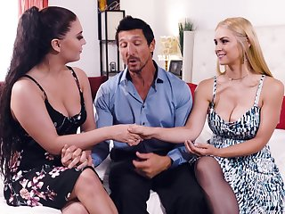 Threesome copulation with amazing pornstars Sarah Vandella and Jojo Kiss