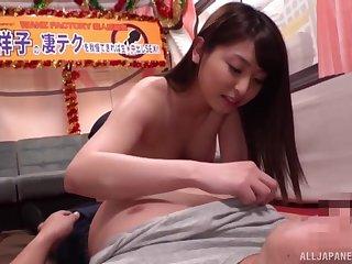 Amateur Asian girl Akiyama Shouko gives a blowjob to her lover