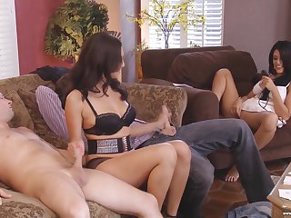 Rejected bitch Lyla Smite flashes her bum and fucks doggy by means of orgy