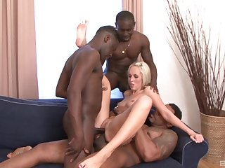 Married blonde fulfills her deep desires of shacking up roughly black studs