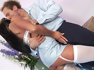 Fun-loving Roxanna's hungry pussy gets stuffed full for dick
