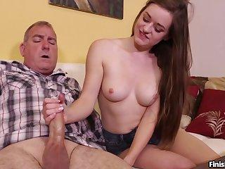 Old tramp receives alert handjob from slutty niece