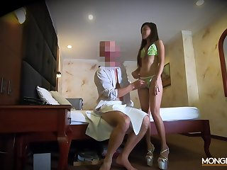 Long-legged Asian model Jezebel is fucked by one fond of foreigner