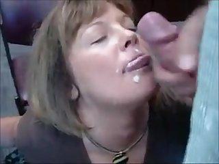 Mature secretary sucking dick and get facial