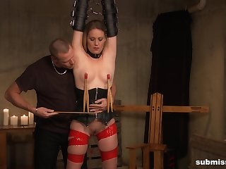 Submissive blonde gets clamped plus roughly fucked