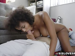 Curly ebony pet with lumpish ass is bent over and fucked doggy