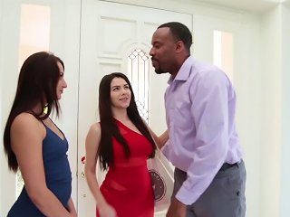 Two scorching femmes a handful of  ebony prick
