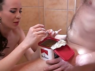 Flipping & Smoking hand-job By cutie european black-haired mummy Sylvia Chrystall. Hd