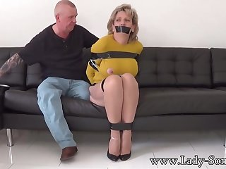 Mature chick, Dame Sonia was bound up, while her adventitious was gripping her meaty milk cans