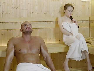 Russian gal with braided teem added to large mammories got drilled in the sauna, until she came